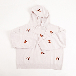 Pure Cashmere Hoodie with Embroider Dogs