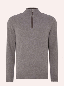Men's 1/4 Zipper Pullover in Wool Cashmere Mixed