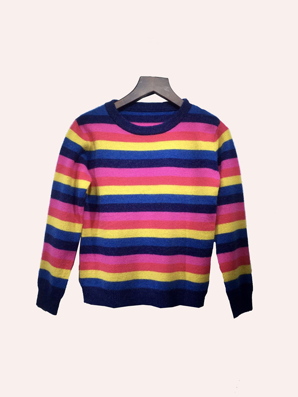 Pure Cashmere Kids' Pullover With Tricolor Stripes